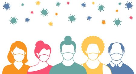People in protective masks and flying coronavirus in flat style. Men and women wearing medical masks to prevent disease, flu, quarantine concept.