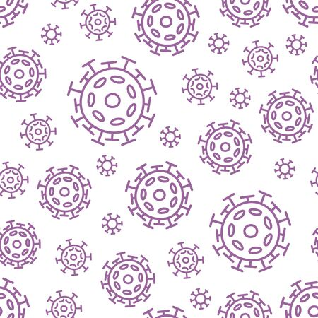 Seamless pattern with coronavirus. Contour microorganism cells repeating background for textil design, wrapping papper, wallpapper.