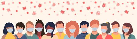 Group of people in protective masks and flying coronavirus in flat style. Men and women wearing medical masks to prevent disease, flu, quarantine concept.