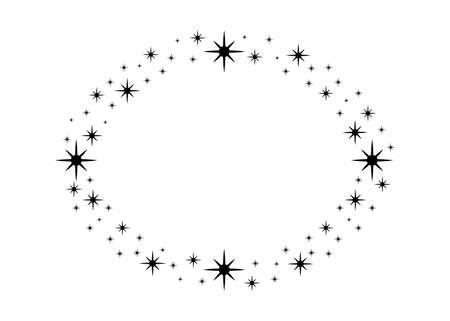 Vector circle star frame. Wreath for design, logo template. Stardust, stars, starry sky. Round frame with stars and glitter dots on white background. Vector background for card, invitation.