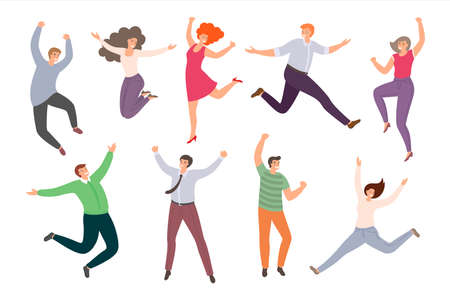 Group of happy jumping people in flat style isolated on white background. Hand-drawn collection of funny cartoon women and men.