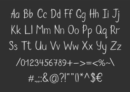 Chalk alphabet in sketchy style. Vector handwritten pencil letters, numbers and punctuation marks. Brush pen handwriting font.