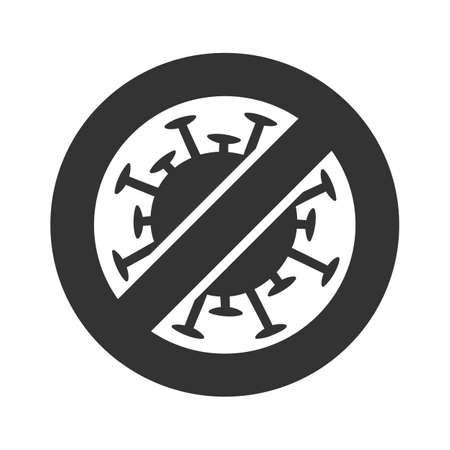 Coronavirus black Prohibit Sign, 2019-nCoV, Covid-19 Novel Coronavirus Bacteria. No Infection and Stop virus Concept. Dangerous Coronavirus Cell. Coronavirus sign isolated on white background
