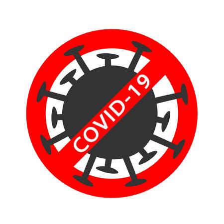 Coronavirus red Prohibit Sign, 2019-nCoV, Covid-19 Novel Coronavirus Bacteria. No Infection and Stop virus Concept. Dangerous Coronavirus Cell. Coronavirus sign isolated on white background Çizim