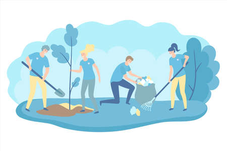 Volunteers cooperating together and cleaning up a city park, they are collecting and separating waste, environmental protection concept. Vector flat illustration.