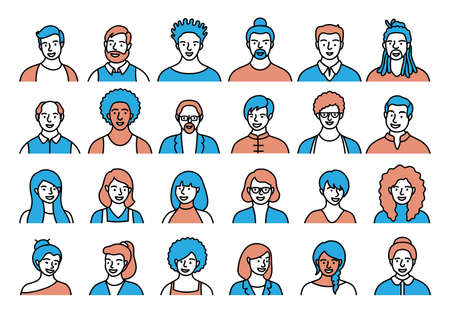 Contour set of persons, avatars, people heads of different ethnicity and age in flat style. Multi nationality social networks line people faces collection. Ilustrace