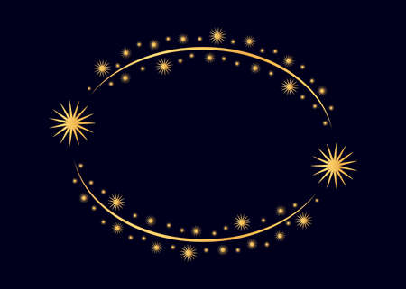 Vector golden circle star frame. Wreath for design, logo template. Stardust, stars, starry sky. Round frame with stars and glitter dots on white background. Vector background for card, invitation. Ilustrace