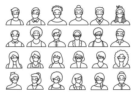 Contour set of persons, avatars, people heads of different ethnicity and age in flat style. Multi nationality social networks line people faces collection.