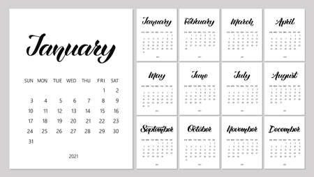 Vector Calendar Planner for 2021 Year with handdrawn lettering and doodles. Set of 12 Months. Week Starts Sunday. Stationery Design. Objects isolated on white background. Ilustrace