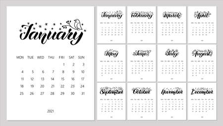 Calendar Planner for 2021 Year with hand-drawn lettering and doodles. Set of 12 Months. Week Starts Monday. Stationery Design. Objects isolated on white background.