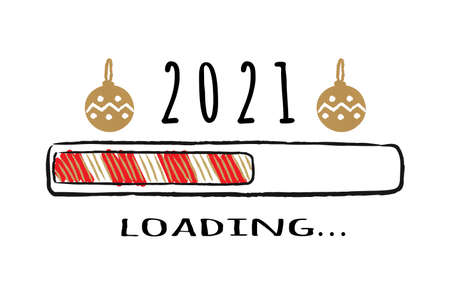 Progress bar with inscription - 2021 loading in sketchy style. Vector christmas, New Year illustration