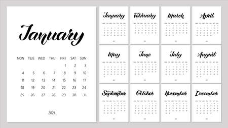 Vector Calendar Planner for 2021 Year with handdrawn lettering and doodles. Set of 12 Months. Week Starts Monday. Stationery Design. Objects isolated on white background.