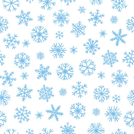 Seamless pattern with different hand-drawn snowflakes. Doodle snowflakes repeating background for wrapping paper, textile, winter christmas design.