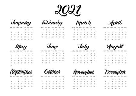 Vector Calendar Planner for 2021 Year with handdrawn lettering and doodles. Week Starts Monday. Stationery Design. Objects isolated on white background.