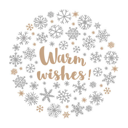 Retro simple Christmas card with golden snowflakes on white background. Winter snowflakes in circle shape with lettering Warm Wishes for greeting card, invitation or tshirt print. Ilustrace