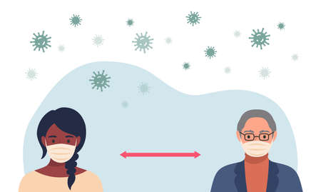 Social distancing concept. People wearing protective masks and keeping distance in public society to prevent COVID-19 coronavirus spreading.