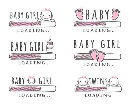 Progress bar with inscription - Baby Girl Loading collection in sketchy style. Vector illustration for t-shirt design, poster, card, baby shower decoration. Иллюстрация