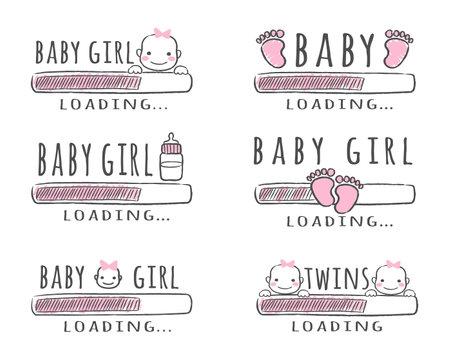 Progress bar with inscription - Baby Girl Loading collection in sketchy style. Vector illustration for t-shirt design, poster, card, baby shower decoration. Ilustração