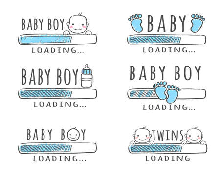 Progress bar with inscription - Baby Boy Loading collection in sketchy style. Vector illustration for t-shirt design, poster, card, baby shower decoration.