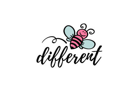 We bee-long together phrase with doodle bee on white background. Lettering poster, valentines day card design or t-shirt, textile print. Romantic quote placard. Иллюстрация