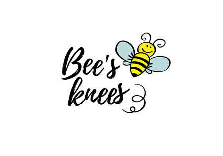 Bees knees phrase with doodle bee on white background. Lettering poster, card design or t-shirt, textile print. Inspiring motivation quote placard. Иллюстрация