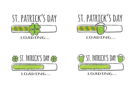 Set of progress bars with inscription - St. Patrick Day Loading collection in sketchy style. Vector illustration for t-shirt design, poster, card. Иллюстрация
