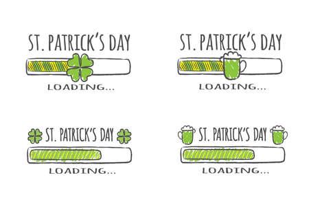 Set of progress bars with inscription - St. Patrick Day Loading collection in sketchy style. Vector illustration for t-shirt design, poster, card. Ilustração