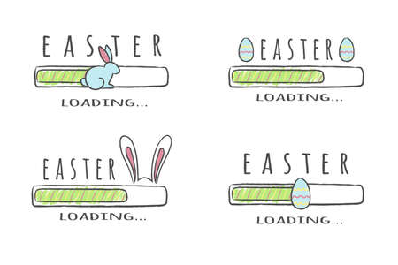 Set of progress bars with inscription - Easter Loading collection in sketchy style. Vector illustration for t-shirt design, poster, card.