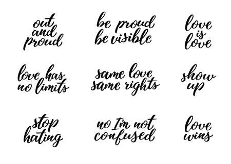 LGBTQ lettering set. Conseptual lgbt rights hand drawn illustrations and calligraphy quotes for posters, stickers, flyers, banners, t-shirt, prints. Festival slogan. Иллюстрация