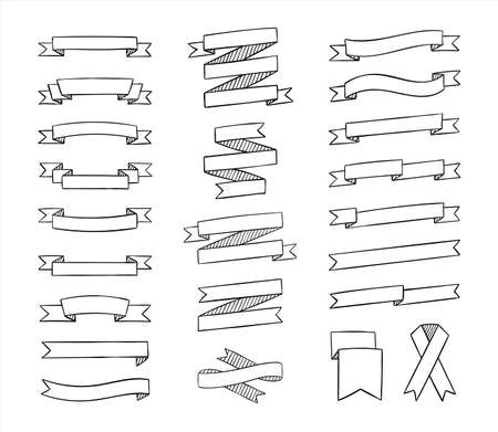 Ribbons set in sketchy style. Contour hand drawn vintage ribbons collection for text decoration, banner, labels, greeting card. Vector illustration.
