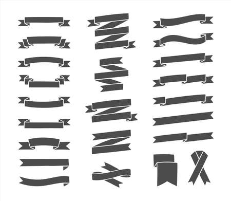 Ribbons silhouettes set. Hand drawn vintage ribbons collection for text decoration, banner, labels, greeting card. Vector illustration.