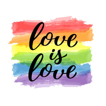 Love is Love hand drawn lettering quote. Homosexuality slogan on watercolor rainbow background. LGBT rights concept. Modern ink illustration for poster, placard, invitation card, t-shirt print design. Illustration