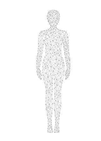 Woman body low poly wireframe vector illustration. Medicine, science and technology concept.