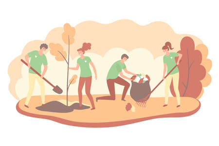 Volunteers cooperating together and cleaning up autimn city park, they are collecting and separating waste, environmental protection concept. Vector illustration. Illustration