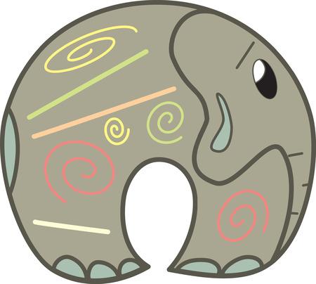 Cute vector elephant Illustration