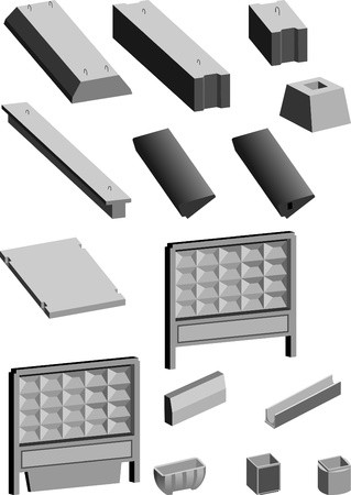 Set of concrete products  Stock Vector - 8925189