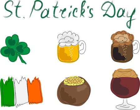 patric icon: St. Patricks Day, set icon, vector Illustration