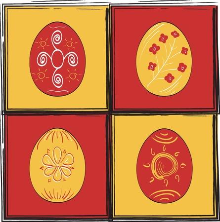 Icon set of Easter eggs Illustration