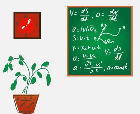wright: Classroom with blackboard and formulas Stock Photo