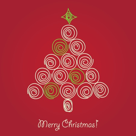 Pretty christmas tree curled quilled, vector illuctration Vector