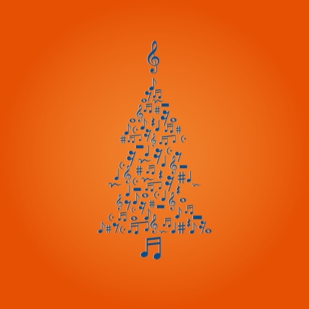 Vector illustration of cute Christmas tree made of notes Vector