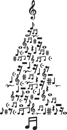 Vector illustration of cute Christmas tree made of notes