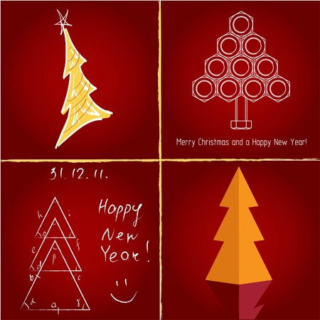 Set of pretty christmas trees , vector illuctration Vector