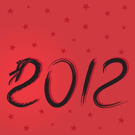 christmas dragon: Christmas cards with a dragon, vector illustration