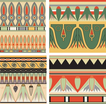 Set of ancient egyptian ornament, vector, seamless pattern Vector