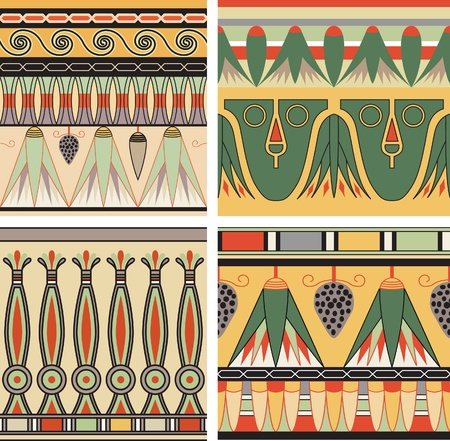 egypt: Set of ancient egyptian ornament, vector, seamless pattern