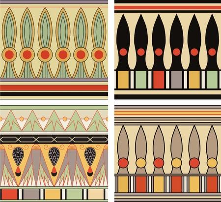 hieroglyphs: Set of ancient egyptian ornament, vector, seamless pattern