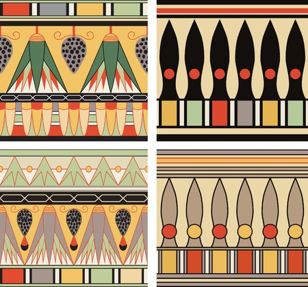ancient egyptian culture: Set of ancient egyptian ornament, vector, seamless pattern
