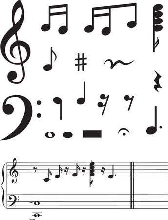 treble: Icon set of musical notes. vector illustration