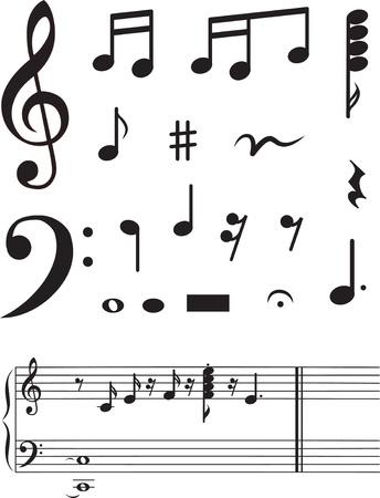 pentagrama musical: Icono de conjunto de notas musicales. ilustraci�n vectorial